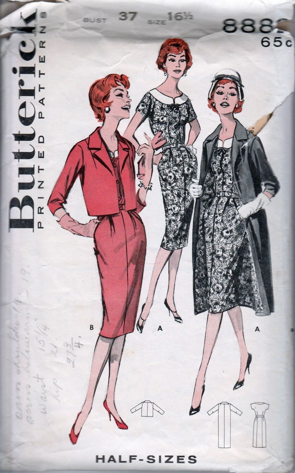 Butterick 8882 Vintage 1950's Sewing Pattern Ladies Sheath Dress Jacket Coat - VintageStitching - Vintage Sewing Patterns