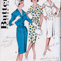 Butterick 9305 Vintage 1950's Sewing Pattern Ladies Sheath Dress Cape Collar - VintageStitching - Vintage Sewing Patterns
