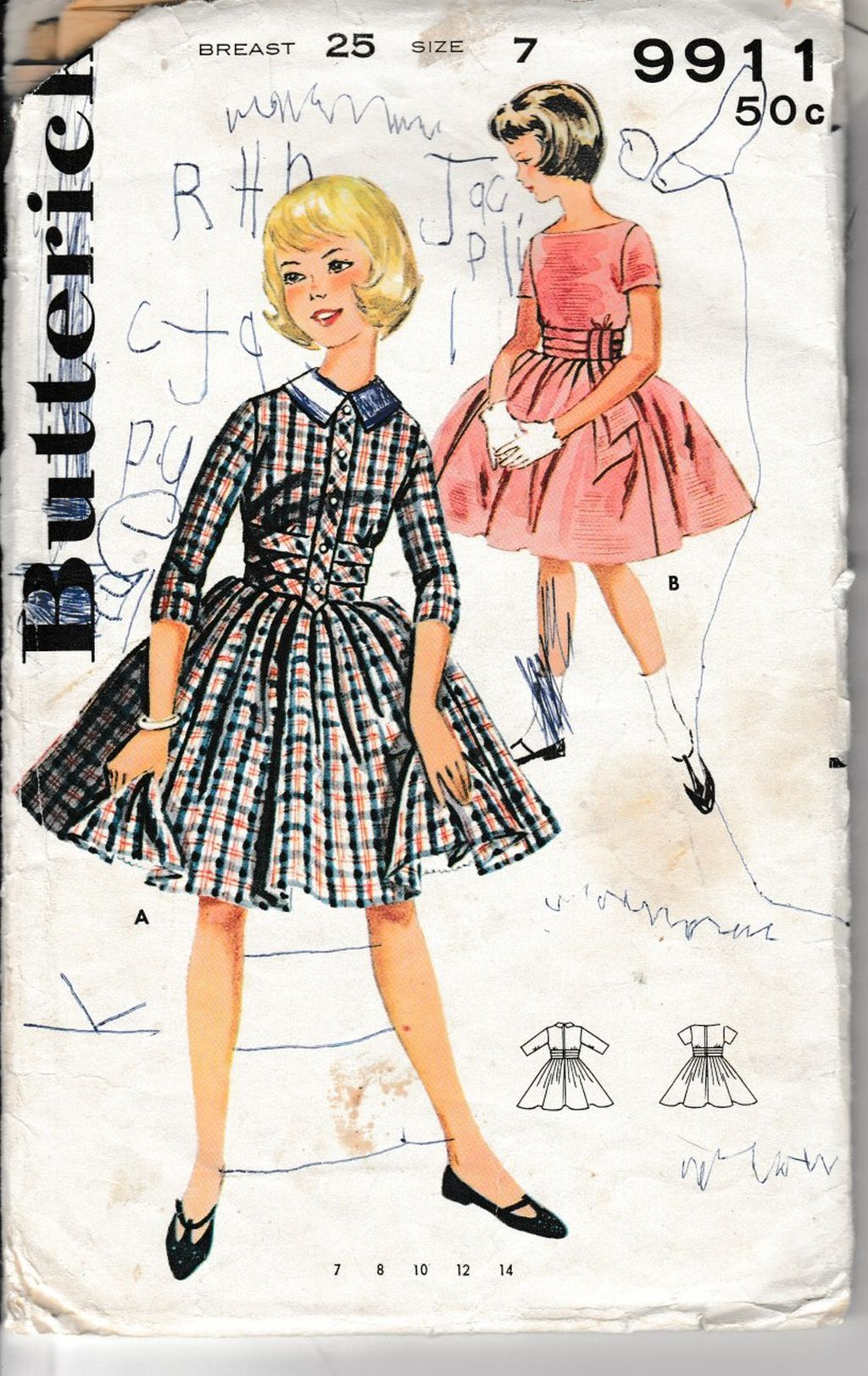 Butterick 9911 Young Girls Full Skirted Dress Vintage 1960's Sewing Pattern - VintageStitching - Vintage Sewing Patterns