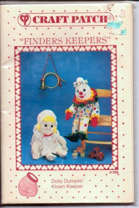 Craft Patch Finders Keepers Dolly Dumplin Klown Jar Cover Vintage Pattern - VintageStitching - Vintage Sewing Patterns