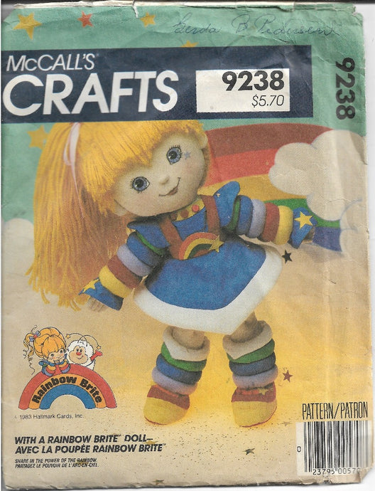 McCalls 9238 Rainbow Brite Doll Vintage Sewing Pattern 1980s - VintageStitching - Vintage Sewing Patterns