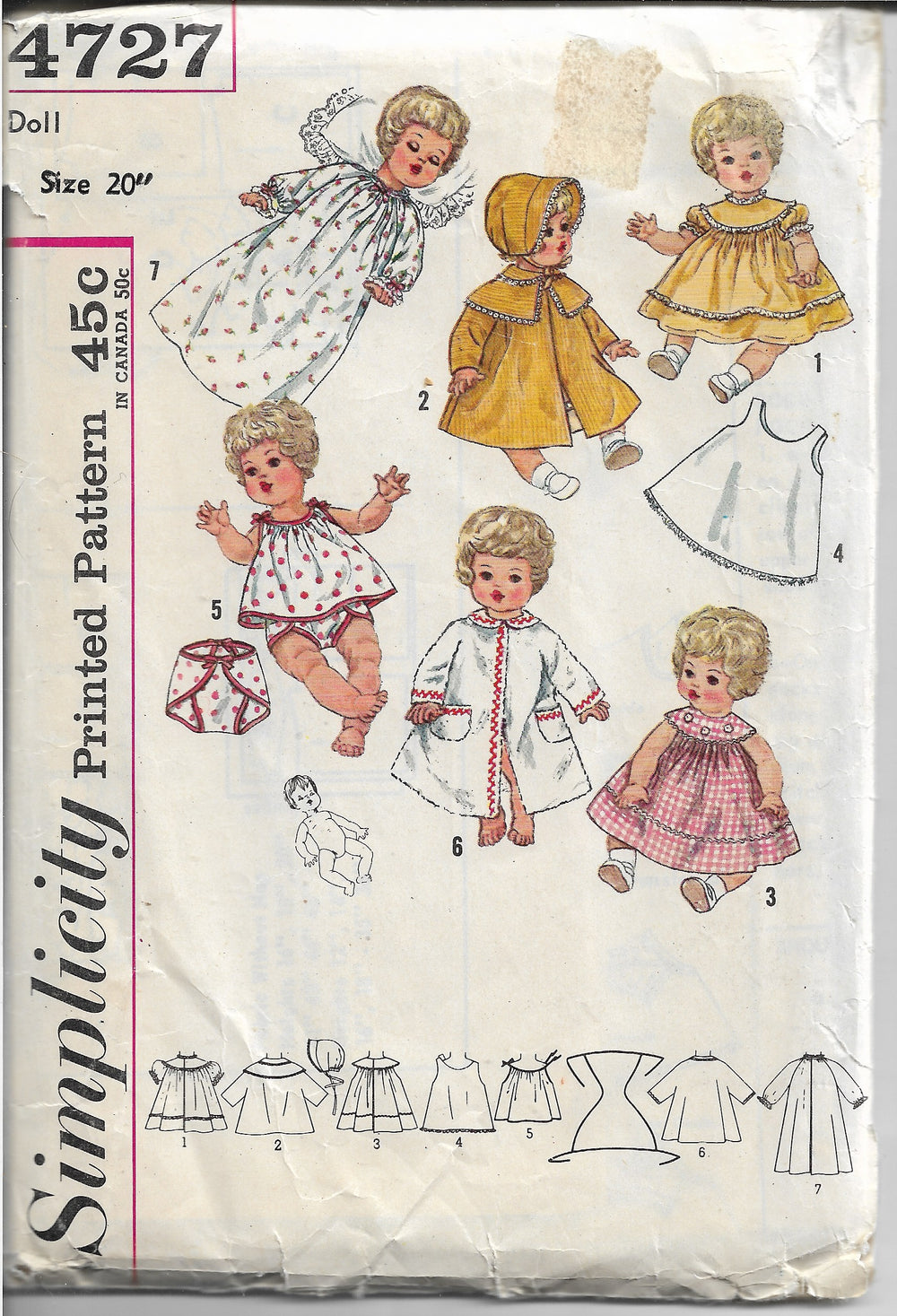 Simplicity 4727 Doll Wardrobe Pattern Betsy Carrie Vintage Sewing Pattern 1960s - VintageStitching - Vintage Sewing Patterns