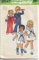 Simplicity 9947 Toddlers Bell-Bottom Jumpsuit Sailor Dress Vintage Sewing Pattern 1970s - VintageStitching - Vintage Sewing Patterns