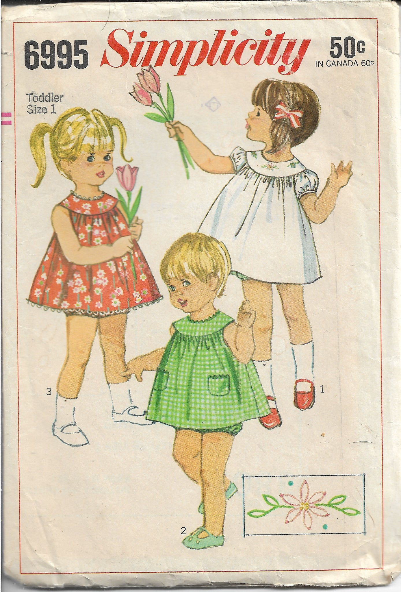 Simplicity 6995 Toddler Short Dress Panties Vintage Sewing Pattern 1960s - VintageStitching - Vintage Sewing Patterns
