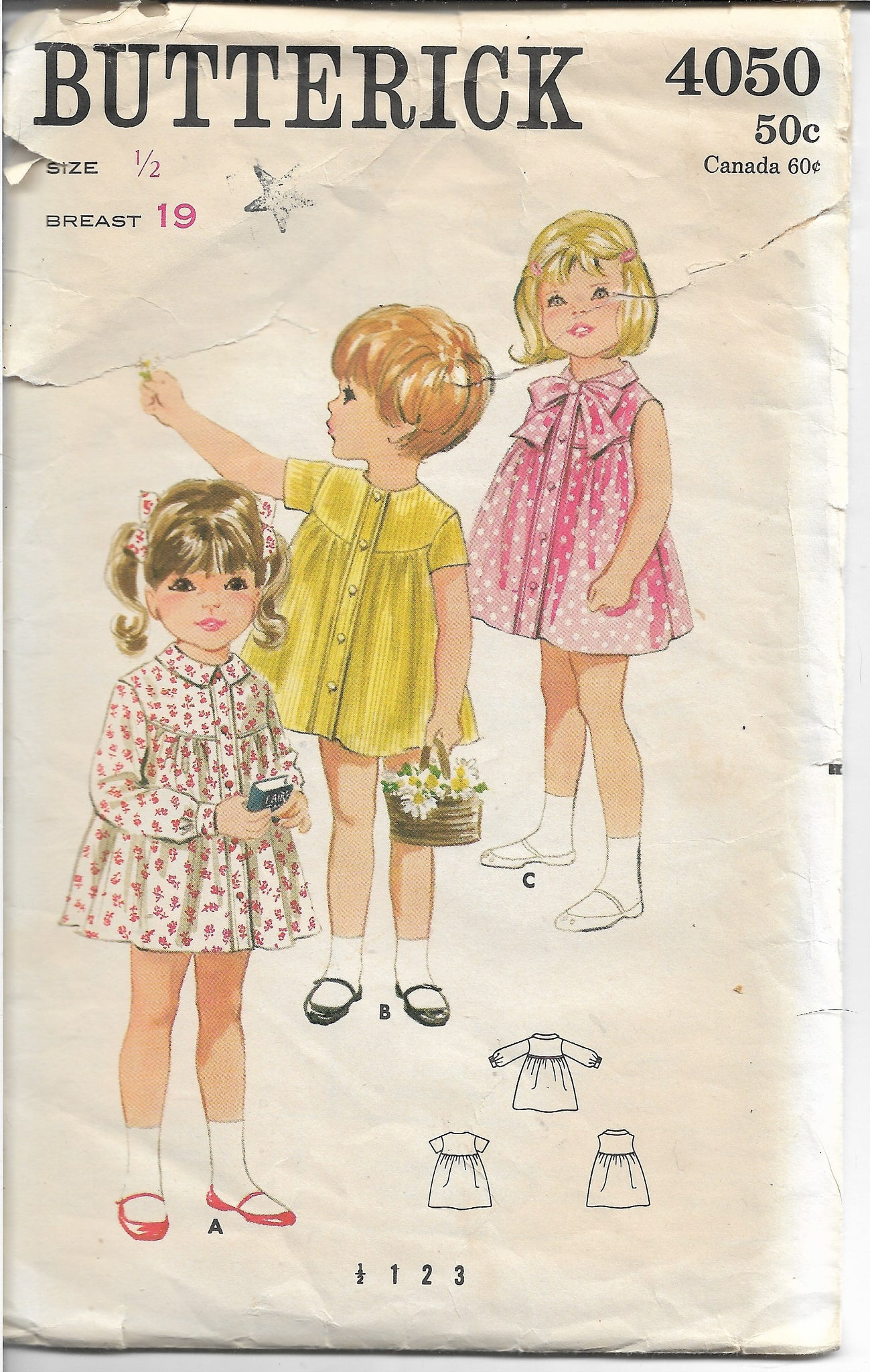 Butterick 4050 Toddlers' Smock Dress Vintage Sewing Pattern 1960s - VintageStitching - Vintage Sewing Patterns