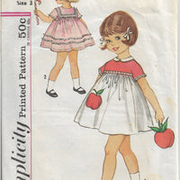 Simplicity 4743 Toddlers' One-Piece Dress Vintage Sewing Pattern 1960s' - VintageStitching - Vintage Sewing Patterns