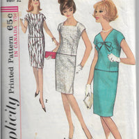 Simplicity 5955 Vintage Sewing Pattern 1960s Ladies Two Piece Slim Dress - VintageStitching - Vintage Sewing Patterns