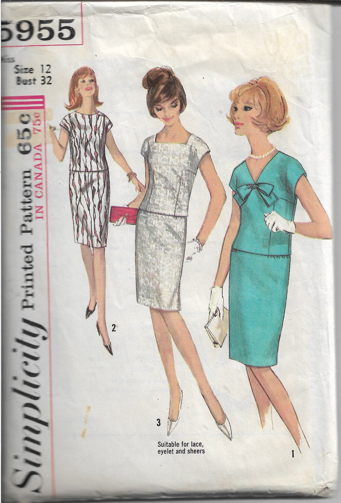 ladies two piece dress simplicity 5955