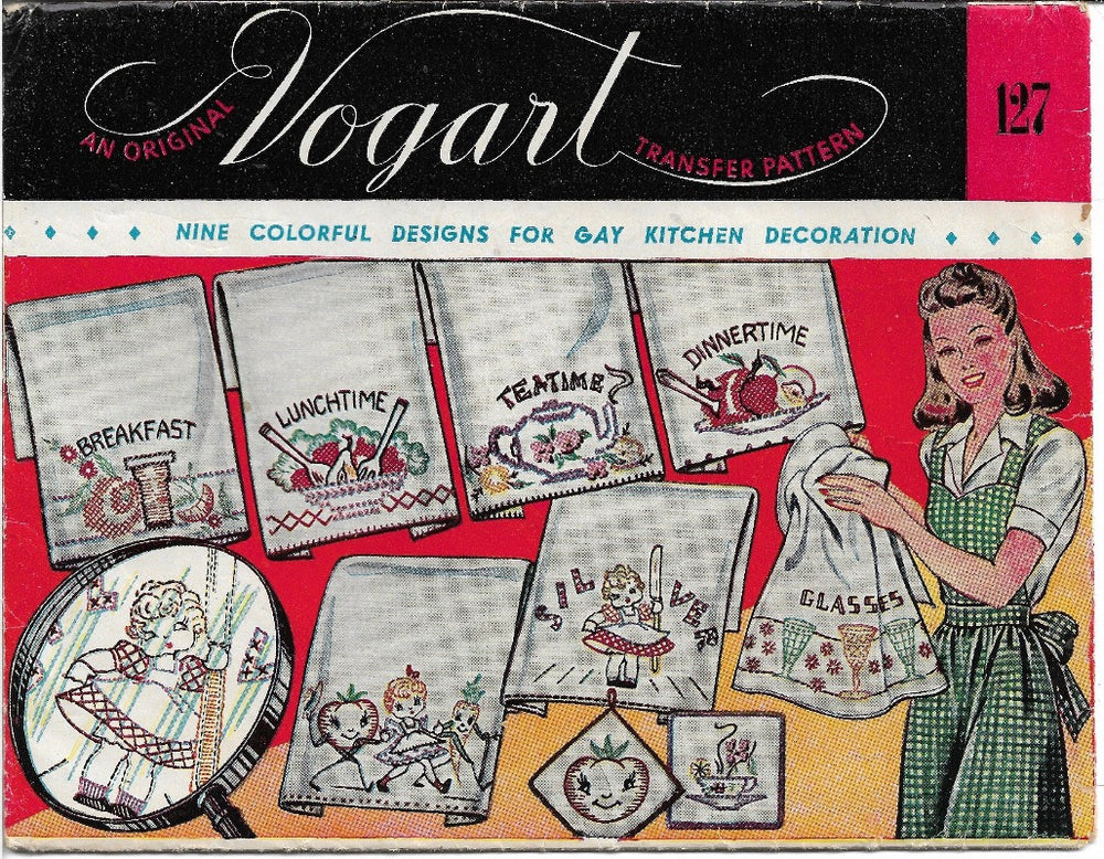 Vintage Transfer Pattern Vpgart 127 Kitchen Tea Towel Decoration - VintageStitching - Vintage Sewing Patterns