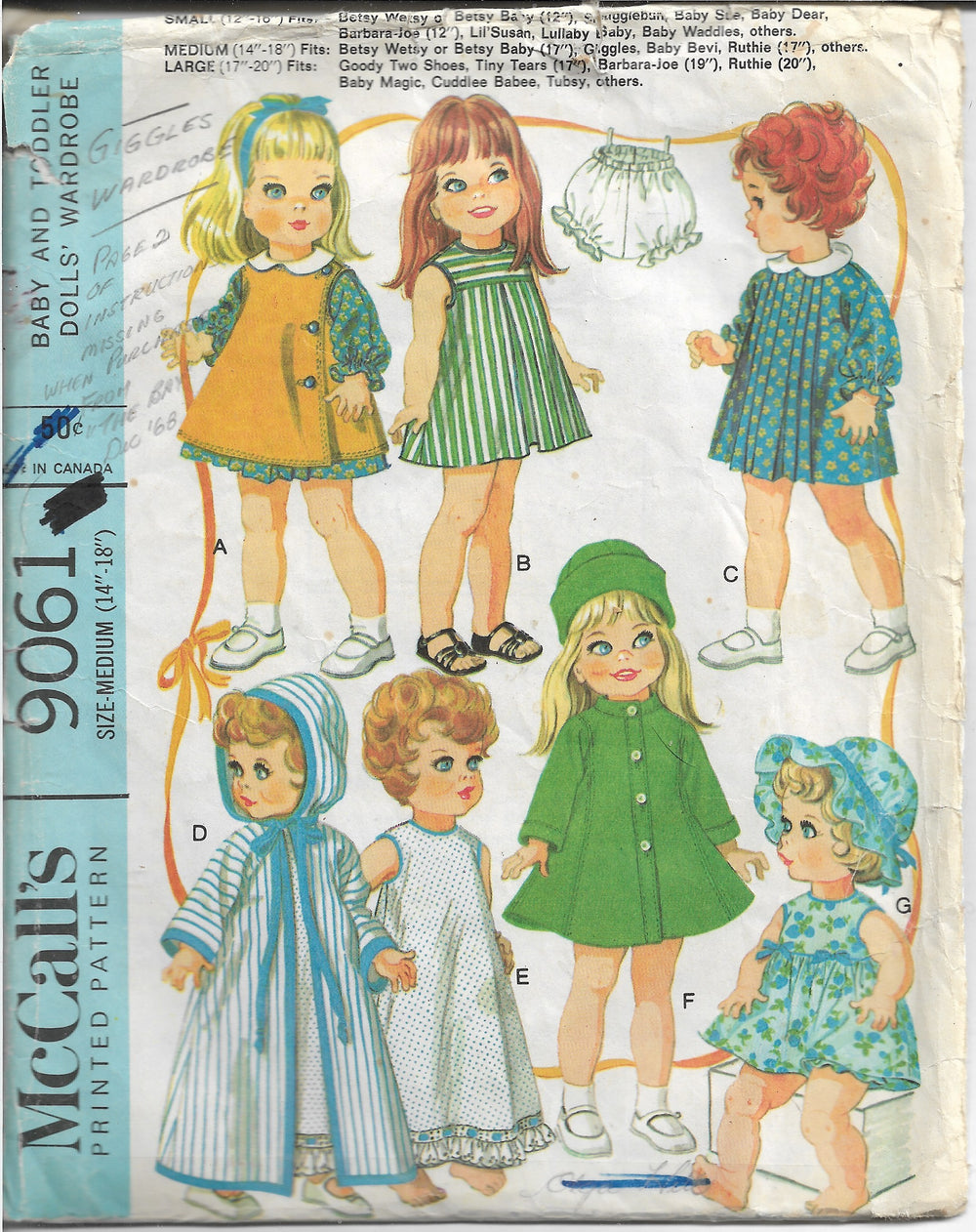 McCalls 9061 Baby Doll Wardrobe Betsy Wetsy 17 inch Vintage Sewing Pattern 1960s - VintageStitching - Vintage Sewing Patterns