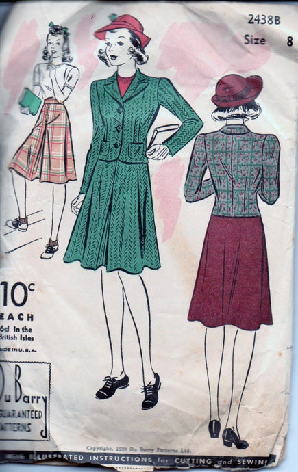 Du Barry 2438B Girls Two Piece Suit Jacket Skirt Vintage 1930's Sewing Pattern - VintageStitching - Vintage Sewing Patterns
