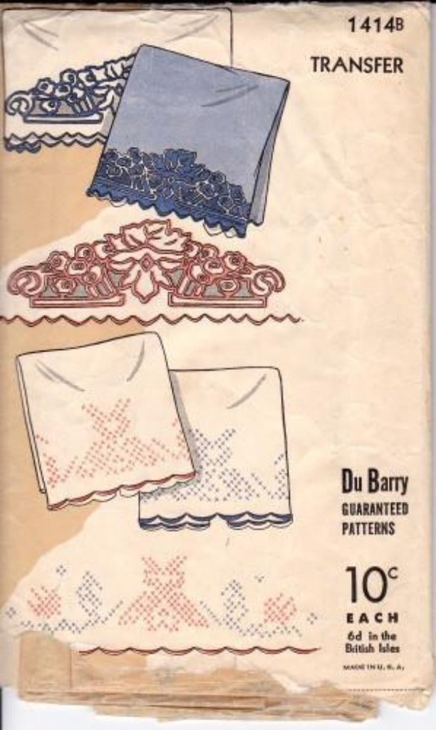 Dubarry Vintage Cross Stitch Transfer Pattern 1930's - VintageStitching - Vintage Sewing Patterns