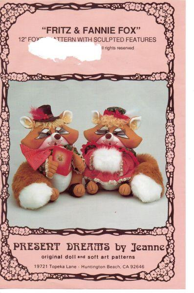 Fritz and Fannie Fox Stuffed Animal Craft Sewing Pattern Present Dreams - VintageStitching - Vintage Sewing Patterns