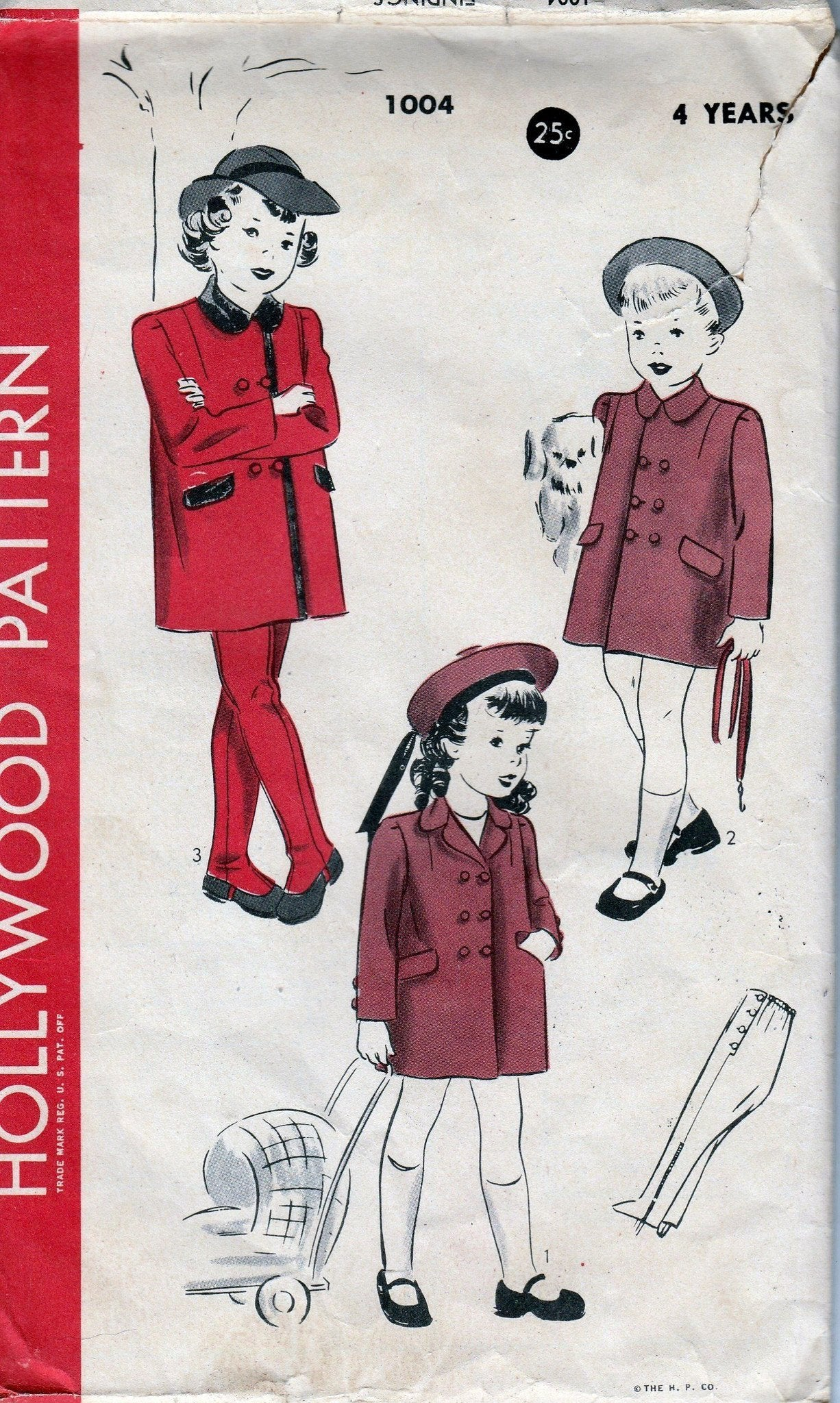 Hollywood 1004 Little Girls Double Breasted Coat Leggings Toddler Vintage 1940's Sewing Pattern - VintageStitching - Vintage Sewing Patterns
