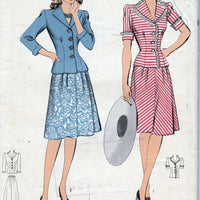 Hollywood 1093 Vintage 1940's Sewing Pattern Ladies Two Piece Dress Suit Shaped Revers - VintageStitching - Vintage Sewing Patterns
