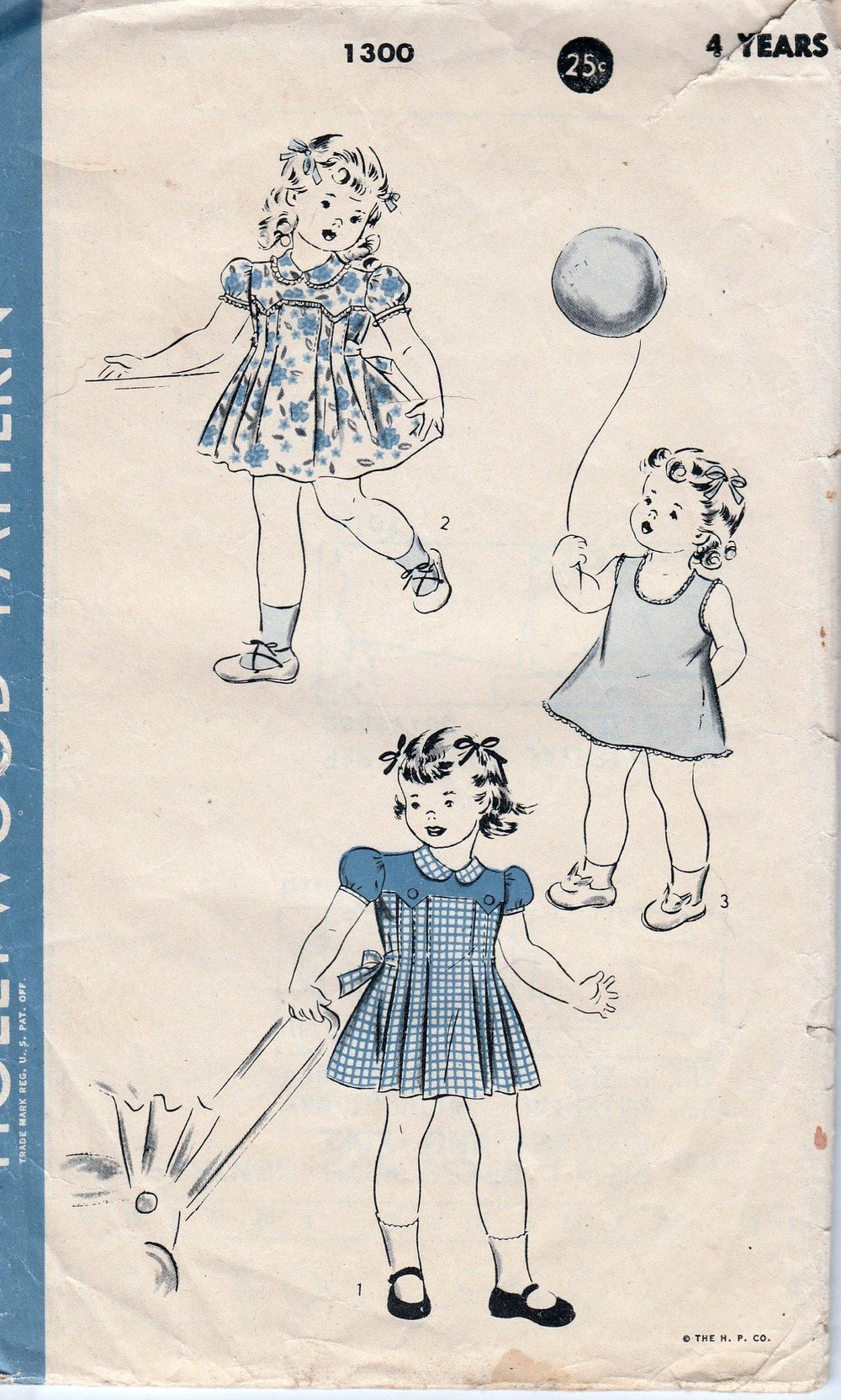 Hollywood 1300 Little Girls Play Dress Vintage 1940's Vintage Sewing Pattern - VintageStitching - Vintage Sewing Patterns