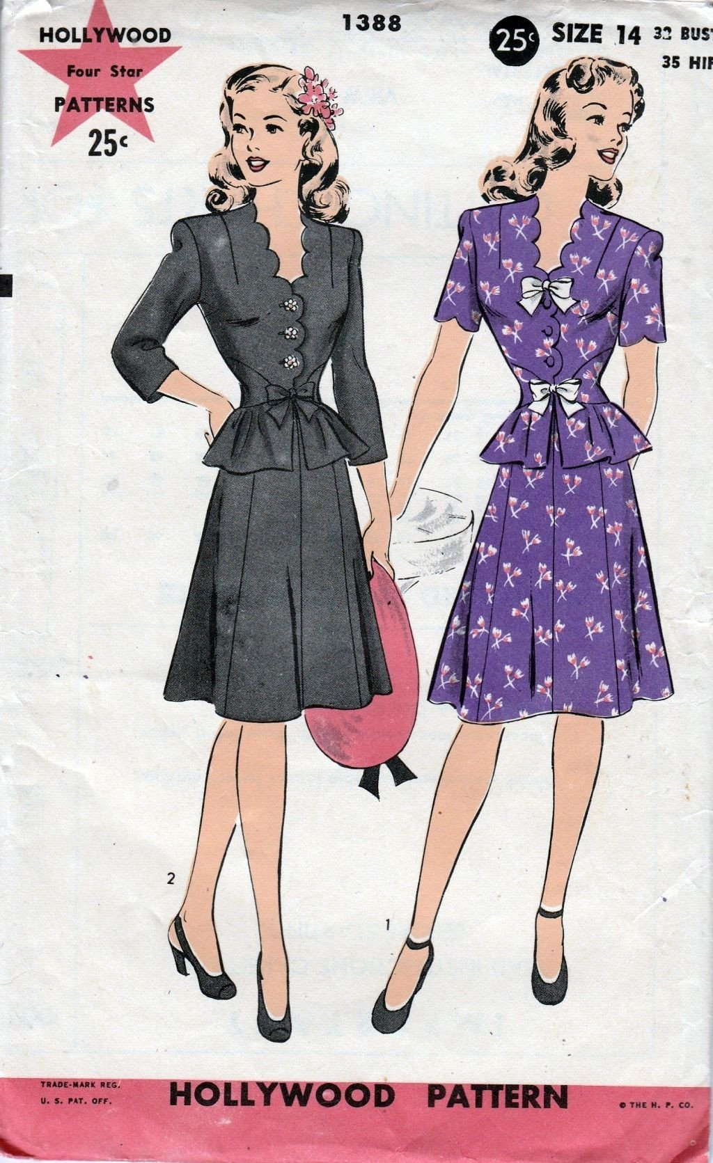 Hollywood 1388 Vintage 1940's Sewing Pattern Ladies Suit Dress Peplum Scallop Detail - VintageStitching - Vintage Sewing Patterns