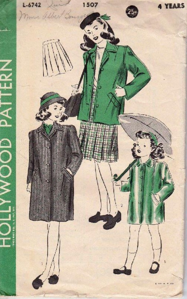 Hollywood 1507 Young Girls Raincoat and Pleated Skirt Vintage Sewing Pattern 1940's - VintageStitching - Vintage Sewing Patterns