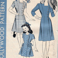 Hollywood 1510 Young Girls Side Buttoned Dress Vintage Sewing Pattern 1940's - VintageStitching - Vintage Sewing Patterns