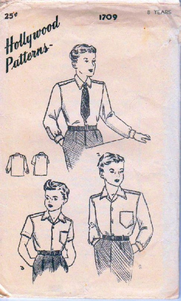 Hollywood-1709-Young-Boys-Shirt-Vintage-Sewing-Pattern-1940_s-Hollywood
