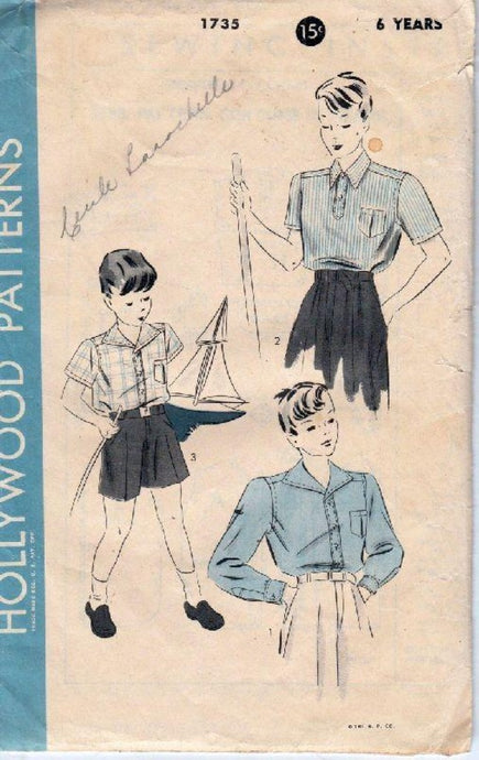 Hollywood 1735 Boys Sport Shirt Vintage 1940's Sewing Pattern - VintageStitching - Vintage Sewing Patterns