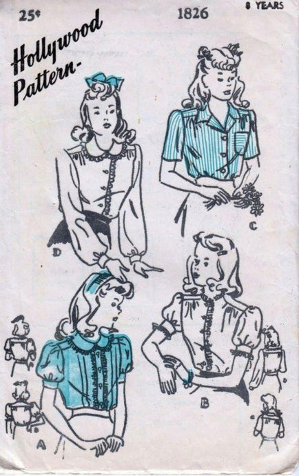 Hollywood 1826 Young Girls Front Closing Blouse Vintage 1940's Sewing Pattern 4 Styles - VintageStitching - Vintage Sewing Patterns