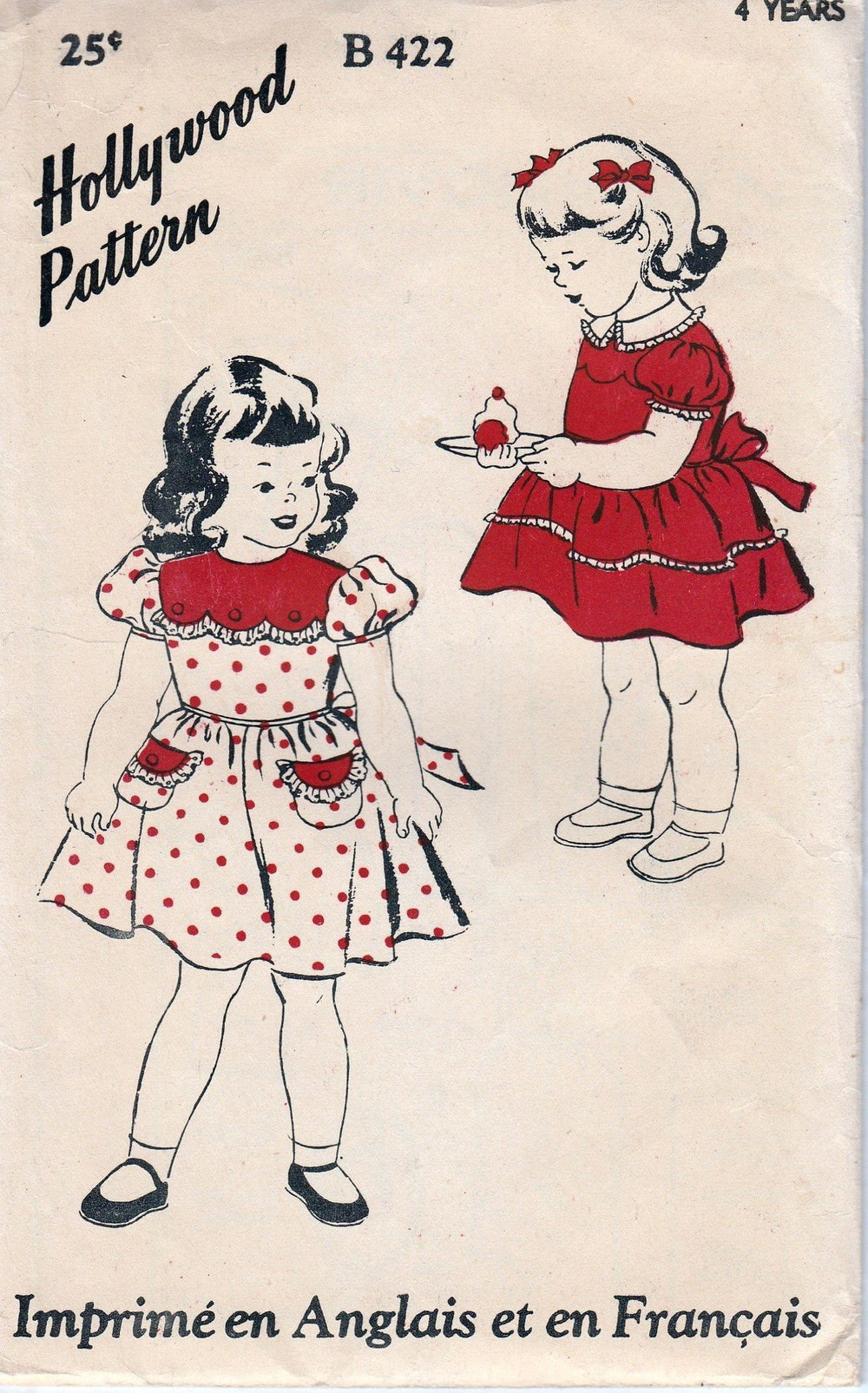 Hollywood 422 Little Girls Party Dress Pattern Vintage 1940's Toddler Bilingual - VintageStitching - Vintage Sewing Patterns