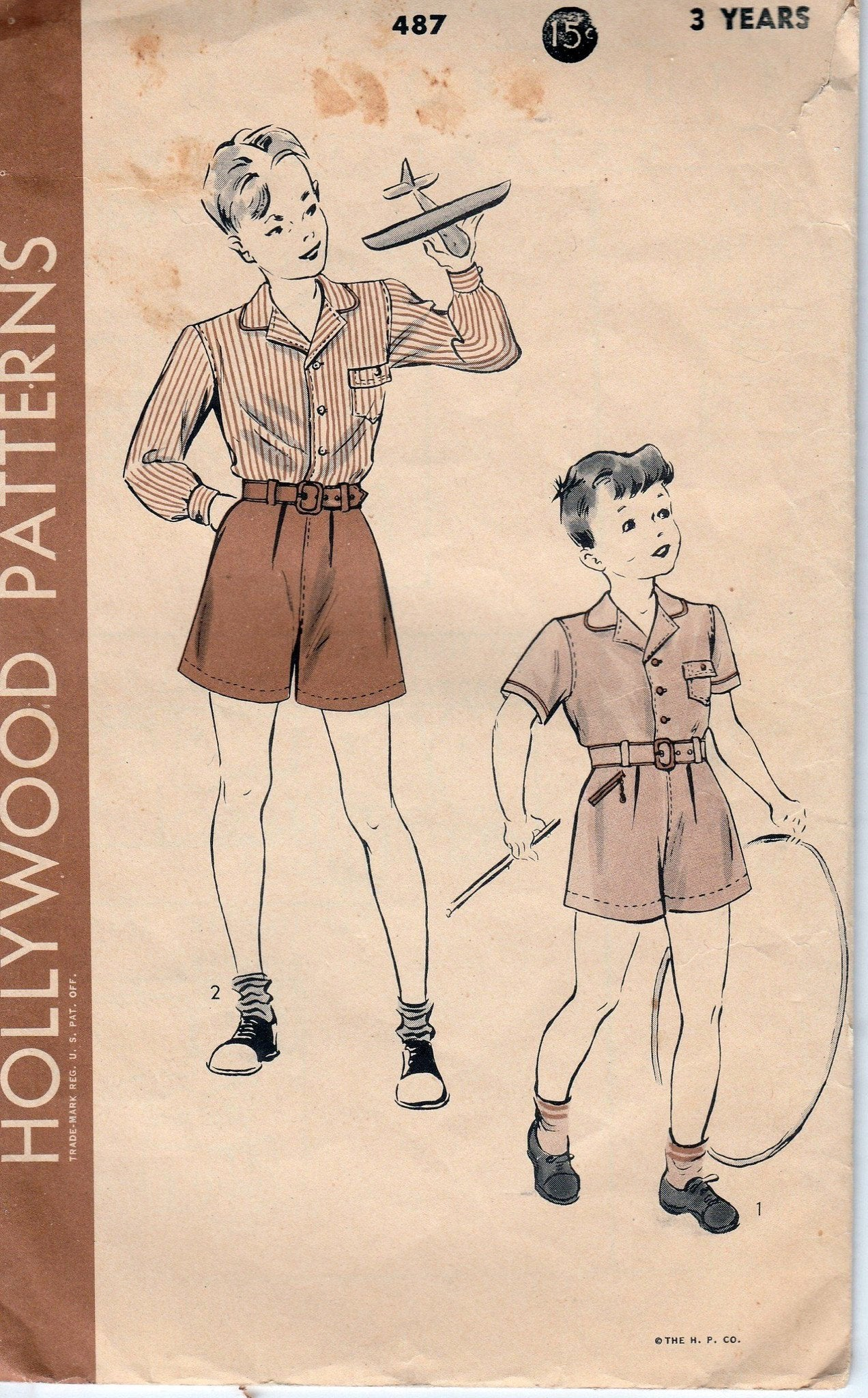 Hollywood 487 Boys Two Piece Suit Toddler Shirt Shorts Vintage 1940's Sewing Pattern - VintageStitching - Vintage Sewing Patterns