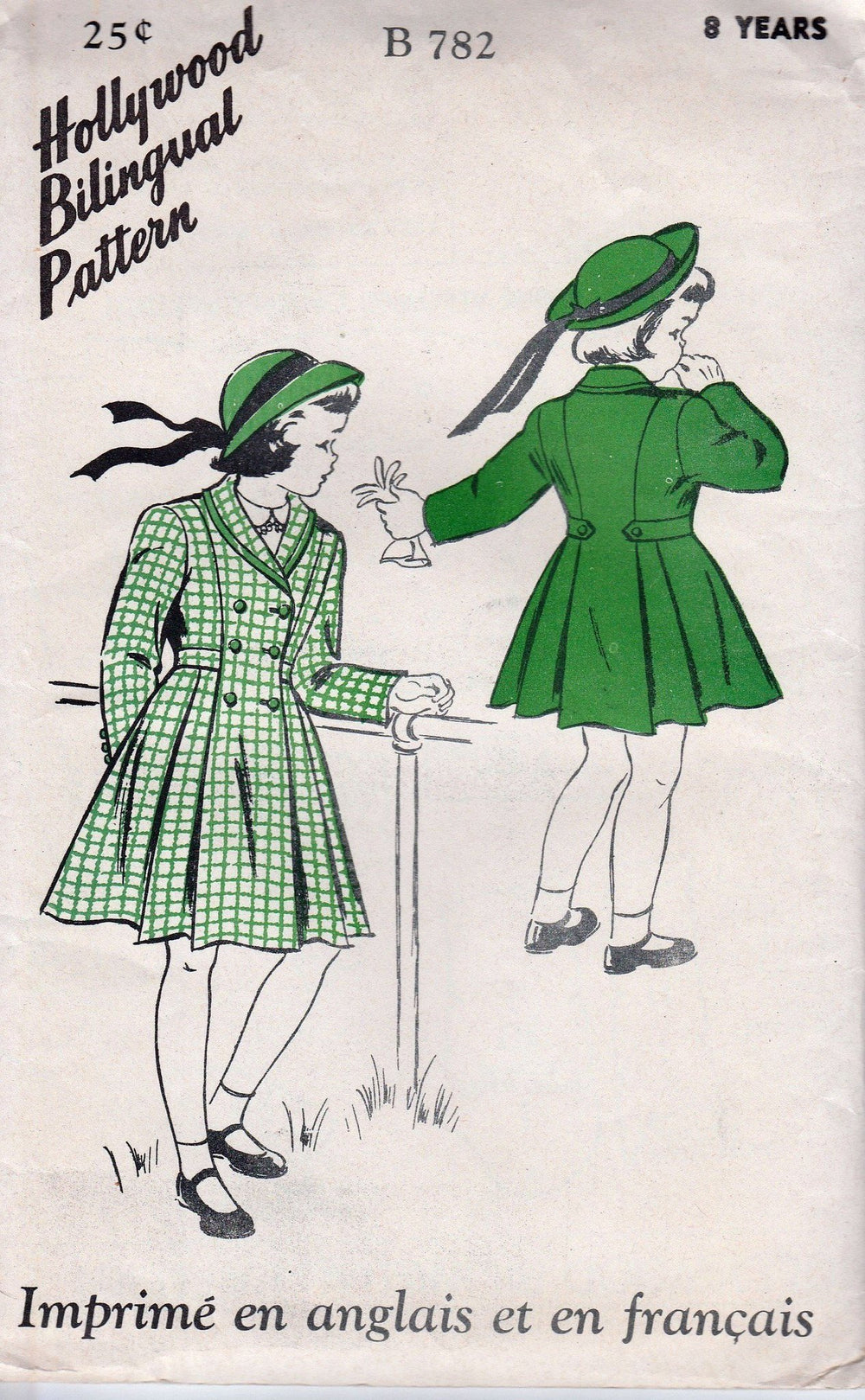 Hollywood 782 Little Girls Coat Vintage 1940's Pattern Bilingual - VintageStitching - Vintage Sewing Patterns