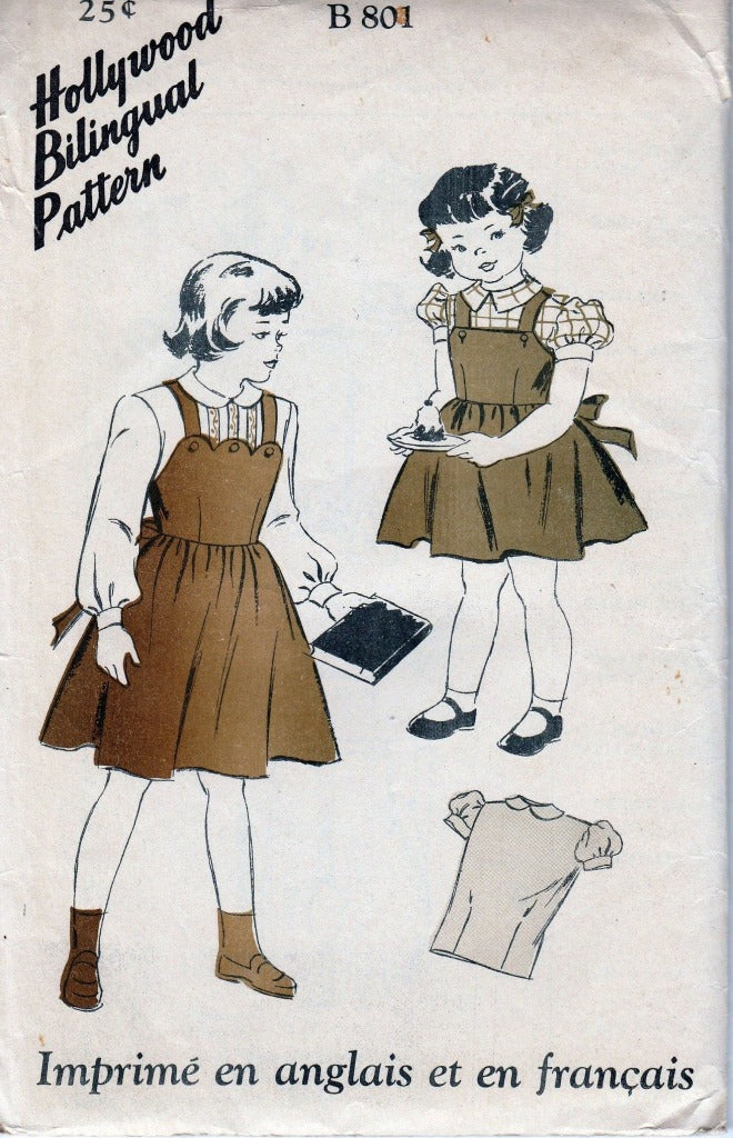 Hollywood 801 Little Girls Jumper Dress and Blouse Vintage Pattern 1940's Bilungual - VintageStitching - Vintage Sewing Patterns