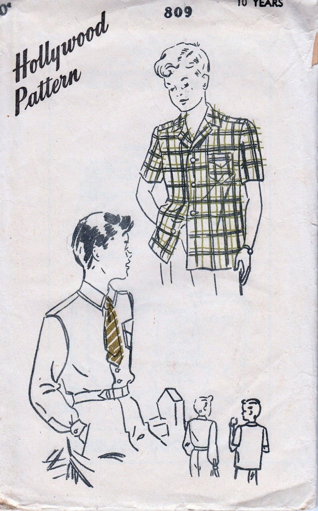 Hollywood 809 Boys Sport Shirt Vintage Sewing Pattern 1940's - VintageStitching - Vintage Sewing Patterns