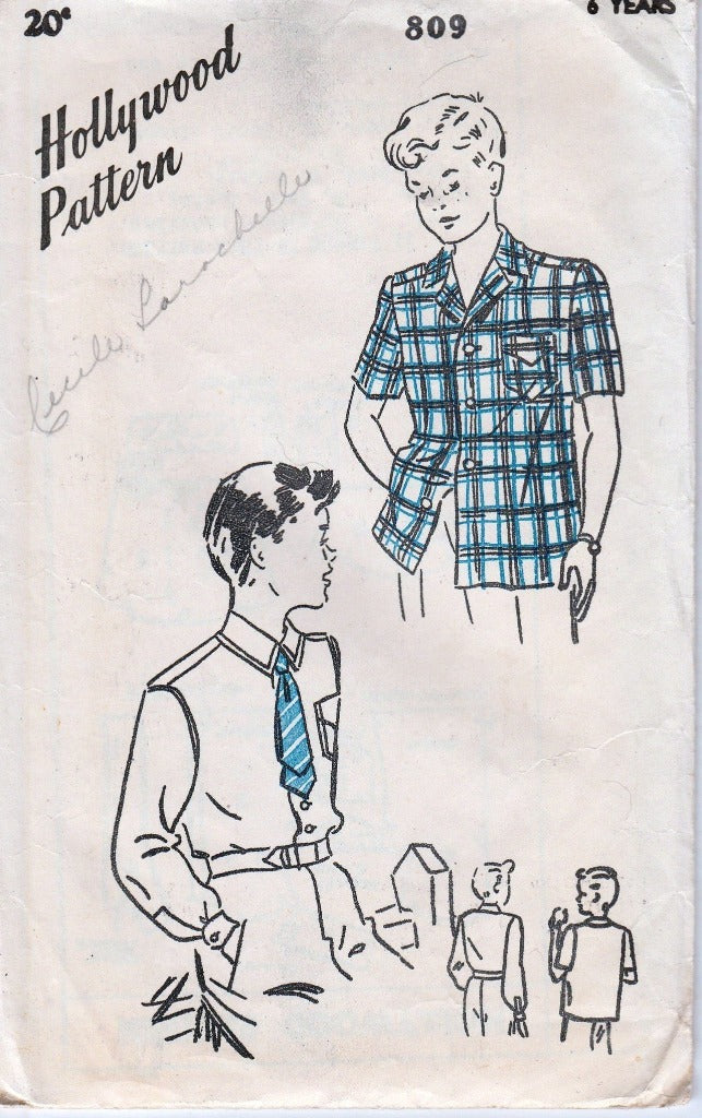Hollywood 809 Boys' Sport Shirt Vintage 1940's Sewing Pattern - VintageStitching - Vintage Sewing Patterns