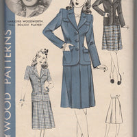 Hollywood 967 Ladies Two Piece Suit Skirt Jacket Vintage 1940's Sewing Pattern Marjorie Woodworth - VintageStitching - Vintage Sewing Patterns