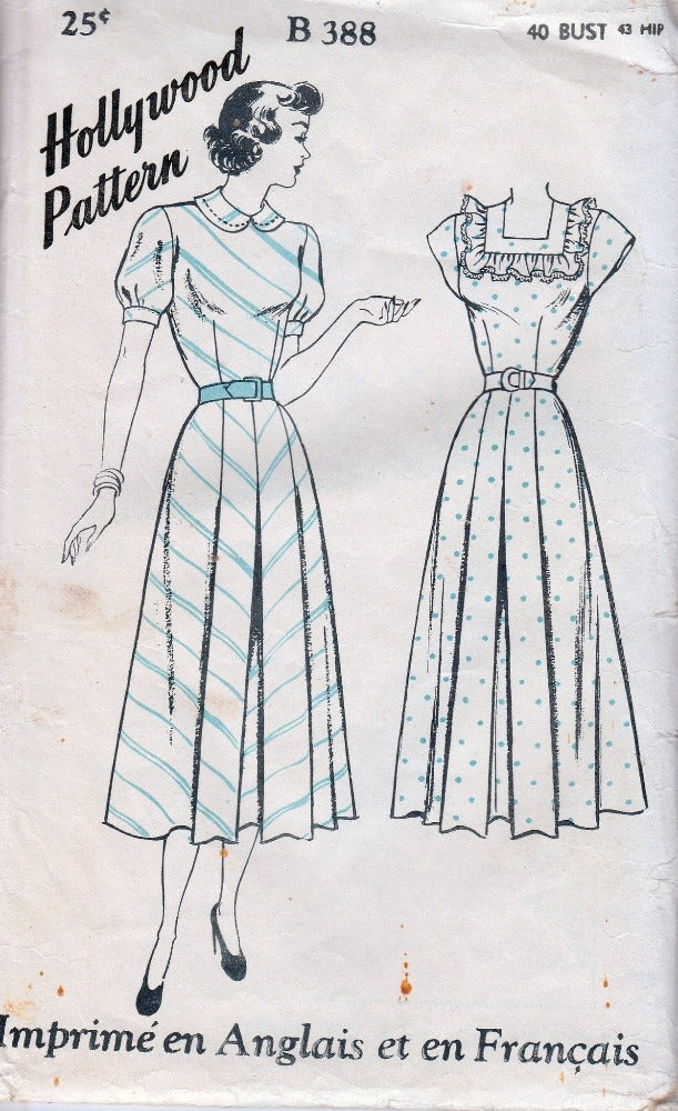Hollywood B 388 Ladies Dress Square Neck Vintage 1930's Sewing Pattern Bilingual - VintageStitching - Vintage Sewing Patterns