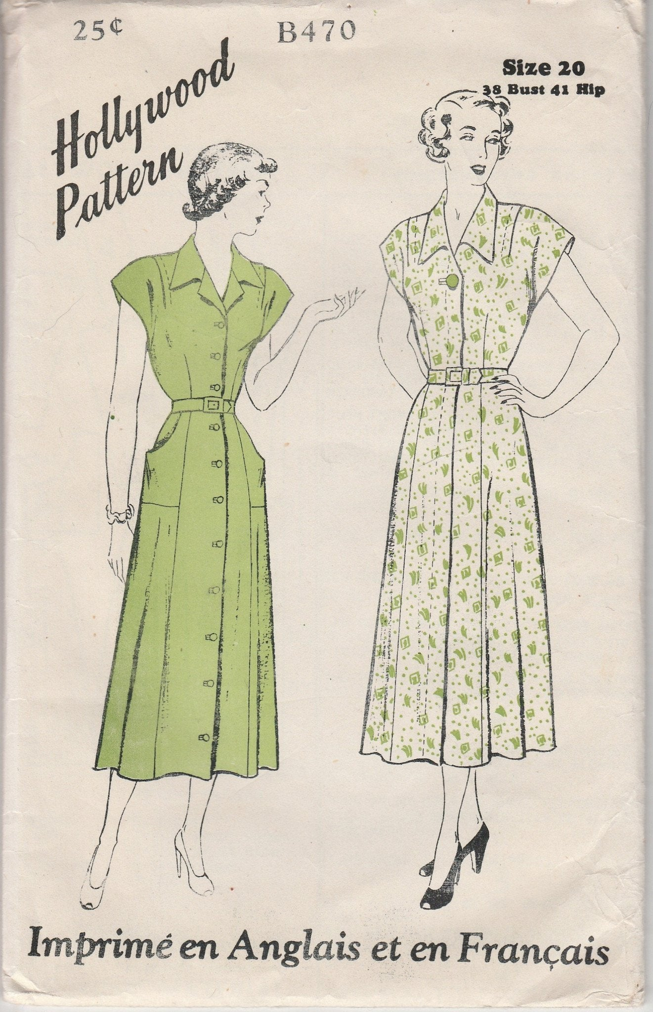 Hollywood B470 Ladies Front Closing Dress Vintage 1940's Sewing Pattern Bilingual - VintageStitching - Vintage Sewing Patterns