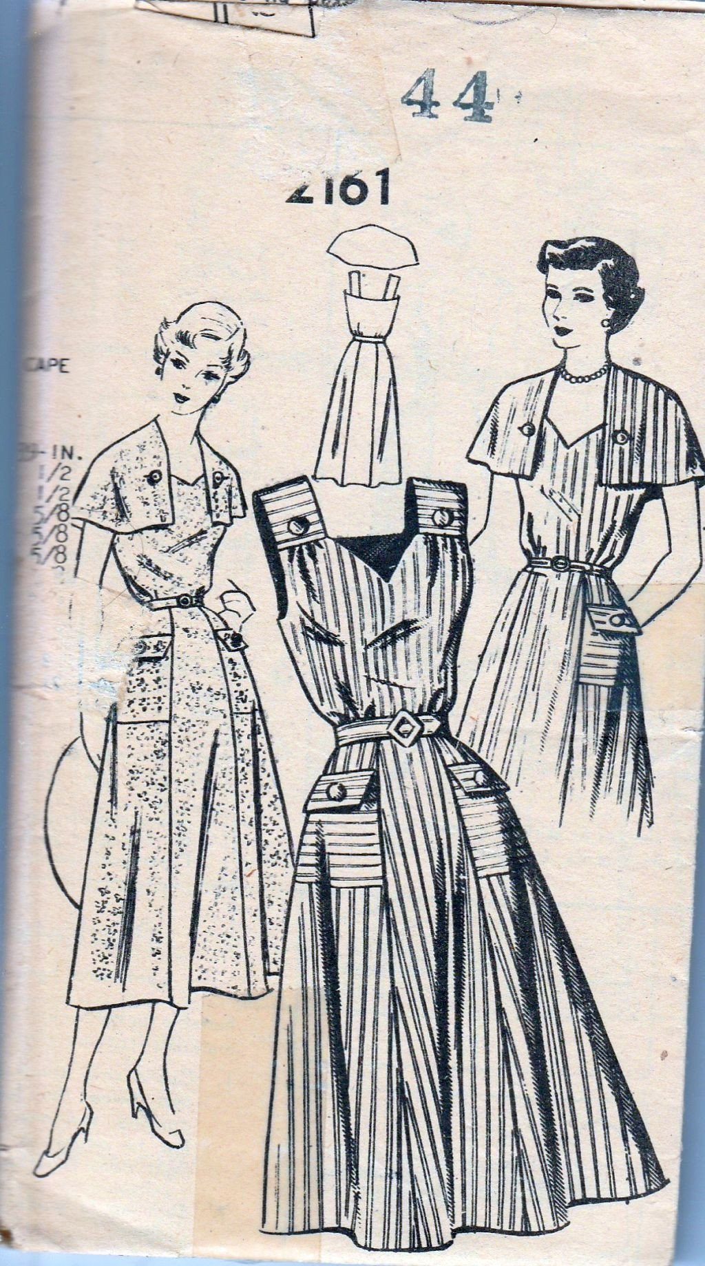 Mail Order 2161 Vintage 1940's Sewing Pattern Ladies Dress Cape - VintageStitching - Vintage Sewing Patterns