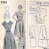 Mail Order 2354 Ladies Square Neck Dress Vintage Sewing Pattern 1950s - VintageStitching - Vintage Sewing Patterns