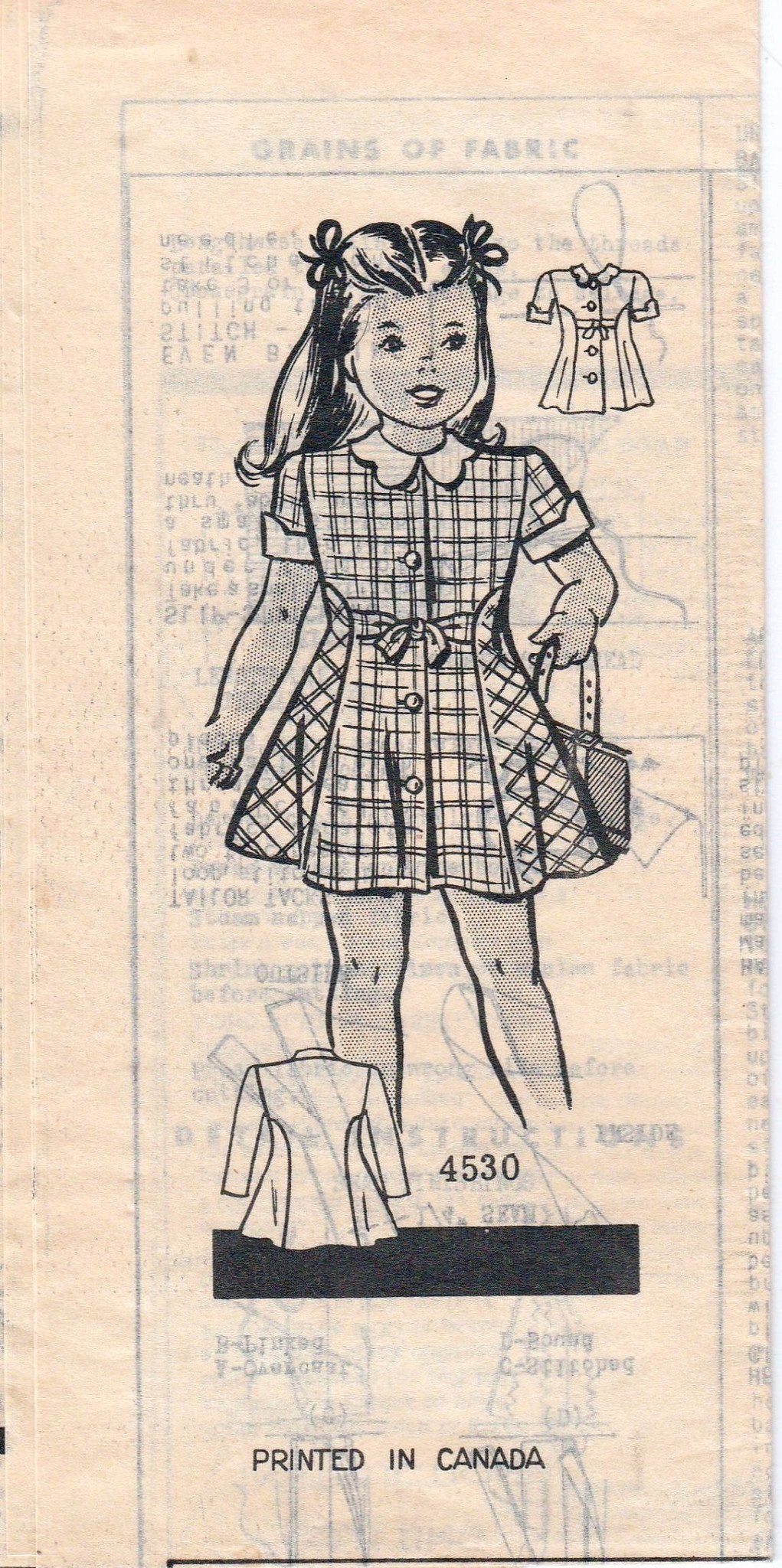 Mail Order 4530 Anne Adams Vintage 1940's Sewing Pattern Girls Toddler Dress - VintageStitching - Vintage Sewing Patterns