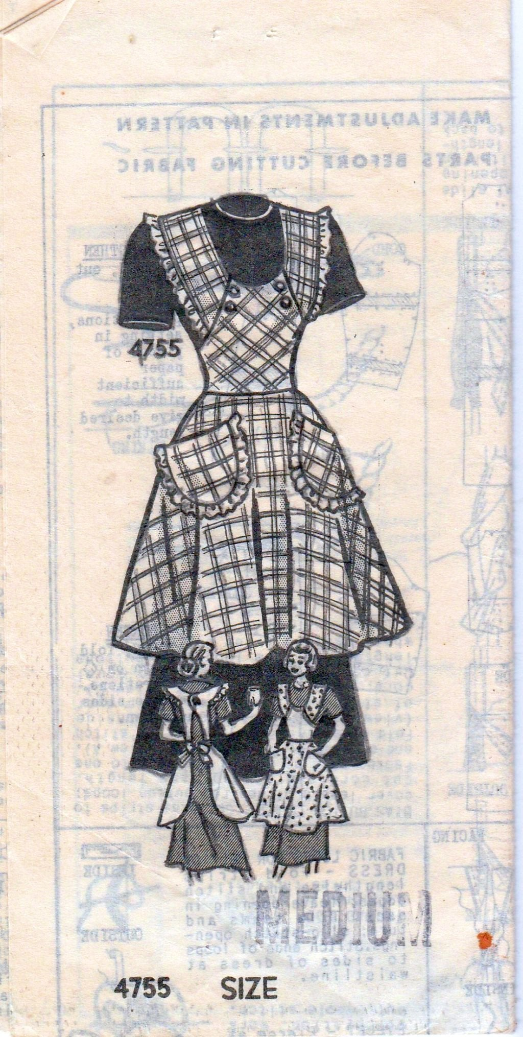 Mail Order 4755 Anne Adams Vintage 1940's Sewing Pattern Ladies Full Apron - VintageStitching - Vintage Sewing Patterns