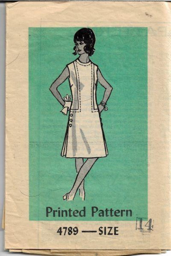 Mail Order 4789 Ladies Sleeveless Dress Vintage Sewing Pattern 1970s - VintageStitching - Vintage Sewing Patterns
