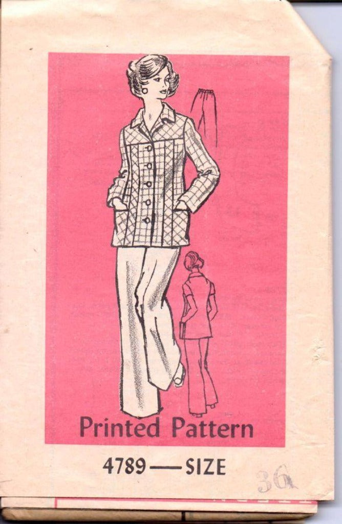 Mail Order 4789 Vintage 1970's Sewing Pattern Ladies Flared Pants Button Front Jacket - VintageStitching - Vintage Sewing Patterns