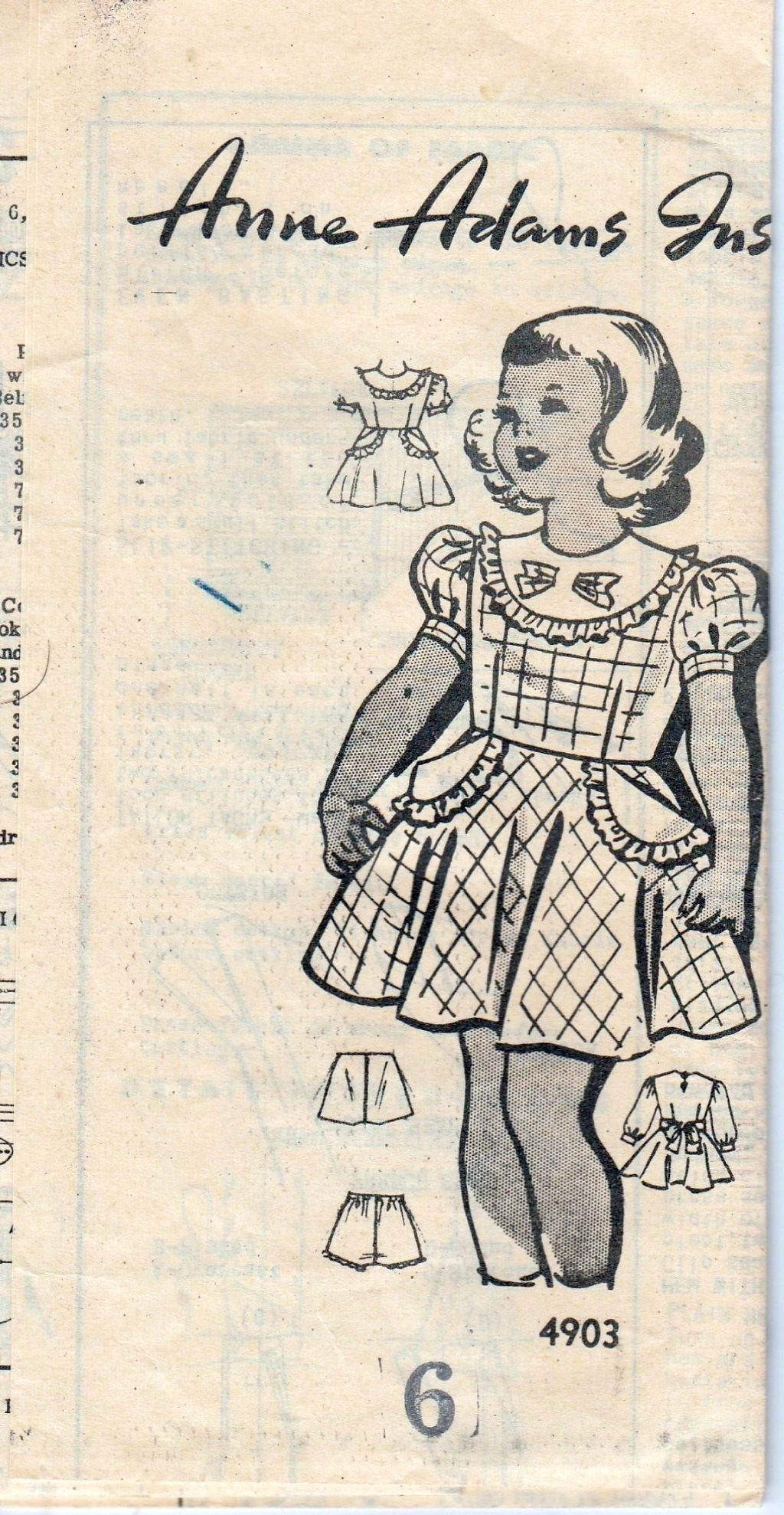 Mail Order 4903 Anne Adams Vintage 1940's Sewing Pattern Girls Dress Panties - VintageStitching - Vintage Sewing Patterns