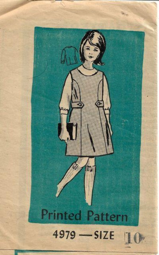 Mail Order 4979 Girls Blouse Jumper Dress Vintage Sewing Pattern 1960s - VintageStitching - Vintage Sewing Patterns