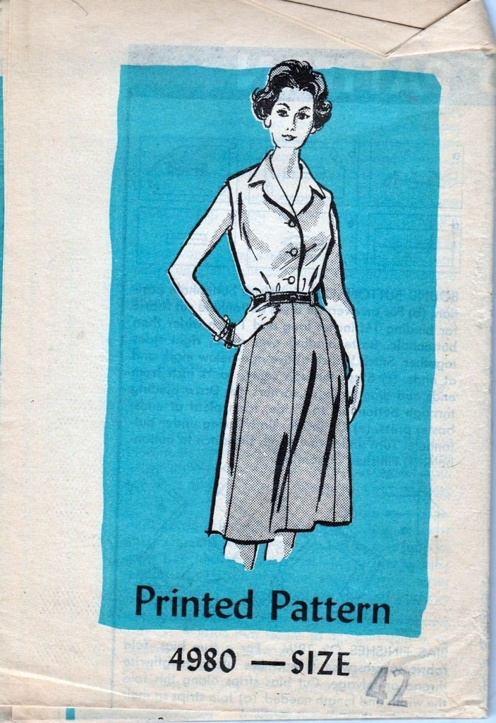 Mail Order 4980 Vintage 1960's Sewing Pattern Ladies Blouse Slim Skirt - VintageStitching - Vintage Sewing Patterns