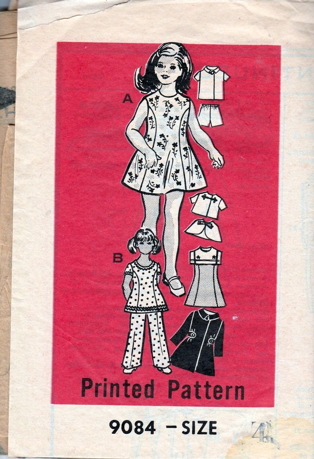 Mail Order 9084 Vintage 1960's Sewing Pattern Little Girls Dress Coat Pants - VintageStitching - Vintage Sewing Patterns