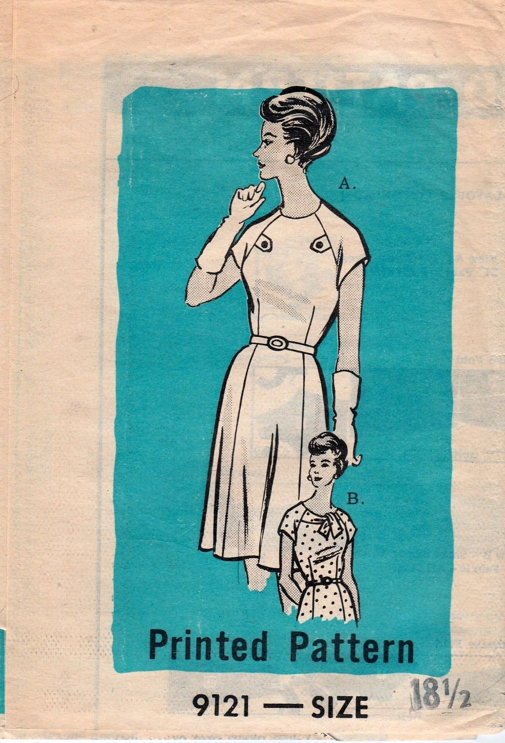 Mail Order 9121 Vintage 1960's Sewing Pattern Ladies Dress - VintageStitching - Vintage Sewing Patterns