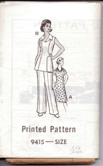 Mail Order 9415 Vintage 1970's Sewing Pattern Ladies Sleeveless Dress Tunic Pants - VintageStitching - Vintage Sewing Patterns