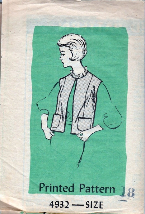 Mail Order Anne Adams 4932 Vintage 1960's Sewing Pattern Ladies Vest Sleeveless Jacket - VintageStitching - Vintage Sewing Patterns