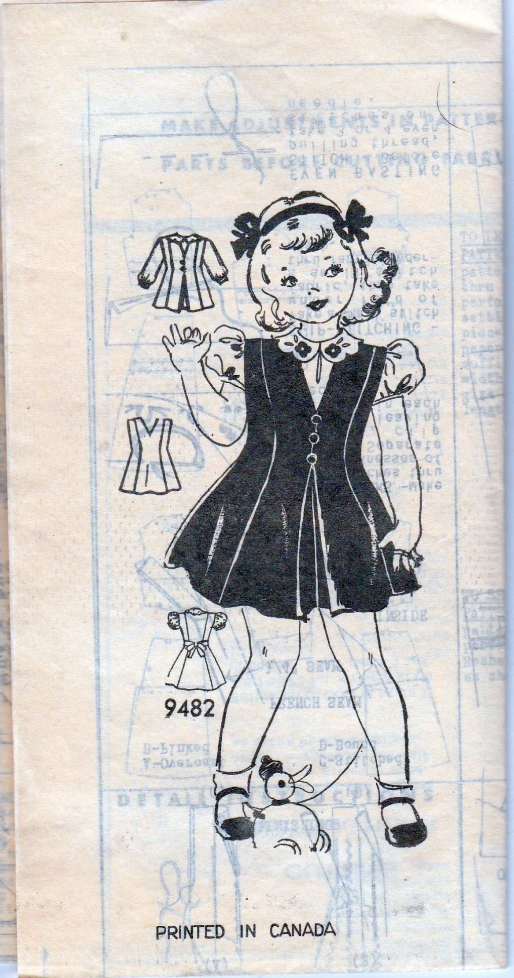 Mail Order Marian Martin 9482 Vintage 1940's Sewing Pattern Girls Jumper Dress - VintageStitching - Vintage Sewing Patterns