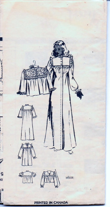 Marian Martin 9236 Vintage 1940's Mail Order Pattern Ladies Nightgown Bed Jacket Lingerie Unprinted - VintageStitching - Vintage Sewing Patterns